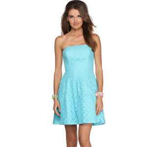Lilly Pulitzer Caitlin Dress Xo Lace Shorely Blue